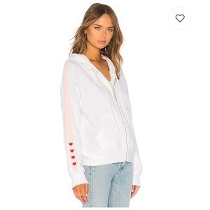 Wildfox love track sport carta zip up heart hoodie